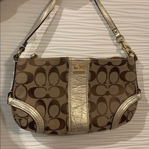 Coach Monogram Jacquard Wristlet in Tan and Gold